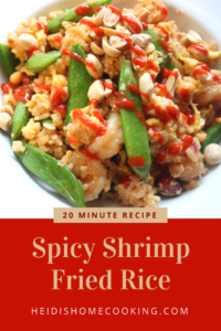 This 20 Minute Spicy Shrimp Fried Rice recipe is better than take-out! How do I know? I love it so much I choose to make it on my birthday because I love Chinese food AND saving money! My version of fried rice is easy, healthy, homemade, but full of authentic flavor. It is made with eggs and snap peas. This is also a simple meal to prepare on the weekend and use in meal prep throughout the week. I hope you try it out! You won't be sorry!