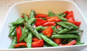 sauteed snap peas and bell pepper