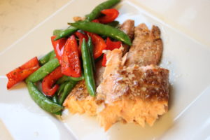 dijon salmon with sauteed snap peas