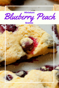 This easy mini blueberry peach scone recipe is perfect for breakfast, brunch, tea, or dessert. Made with fresh yogurt, these scones are sweet and moist. You will want to try these on your next baking day!