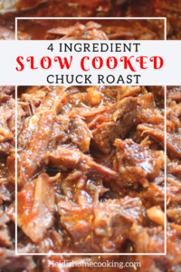 This 4 Ingredient Slow Cooked Chuck Roast is based off of Pioneer Woman's recipe for Tomato Brisket. This easy recipe can be made in the oven or in the Crockpot. The beef comes out tender enough for scrumptious sandwiches but it is flavorful enough to stand alone or serve alongside potatoes or vegetables. It will also make your house smell amazing!
