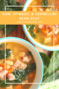 This healthy and easy ham, spinach, and cannellini bean soup is a great recipe to use up leftover ham after the holidays. The colorful vegetables and white beans make the soup both delicious and pretty.