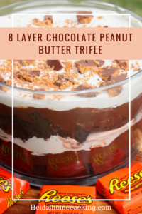 This 8 layer chocolate peanut butter trifle is the easiest dessert recipe you will ever make! It only takes 10 minutes to assemble but it looks like you spent all day in the kitchen! The easy recipe incorporates pudding, whipped topping, and of course, Reese's peanut butter cups. It is perfect for parties, holidays, or big families. I love to serve it to my friends on a hot summer afternoon. You've got to try this recipe out!