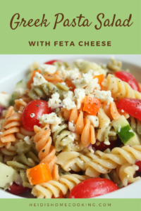 This tasty Greek pasta salad with feta cheese is super easy and healthy! The recipe comes with instructions on how to make your own Greek vinaigrette dressing. Adapted from Spend with Pennies, this delicious side dish is best served cold on a hot summer day. It is full of vibrant colors and flavors, sure to make your next BBQ or potluck a hit!