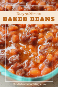 This easy 30 minute baked beans recipe is the perfect potluck dish for a crowd. They are a homemade southern side dish that can be made with ground beef, bacon, or vegetarian. Since they are quick and easy to transport, these baked beans are best at BBQs, pool parties, picnics, and cookouts. Give them a try at your next backyard gathering!
