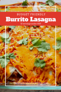 This layered Burrito Lasagna is an easy enchilada casserole recipe that helps families eat cheap while not neglecting their favorite comfort foods. I originally got this recipe from Taste of Home but have substituted black beans and corn for chicken or beef to make a healthy, vegetarian version. This is one of my favorite budget meals because I can make 12 servings for under $10! It also is a convenient freezer meal to have prepped to save time in the kitchen or to take to a new mom. You definitely need to save this pin because it is going to become one of your favorite cheap family dinners!
