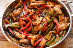 chicken and black bean fajitas