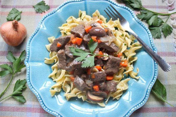 beef stroganoff with buttered noodles  heidi's home cooking