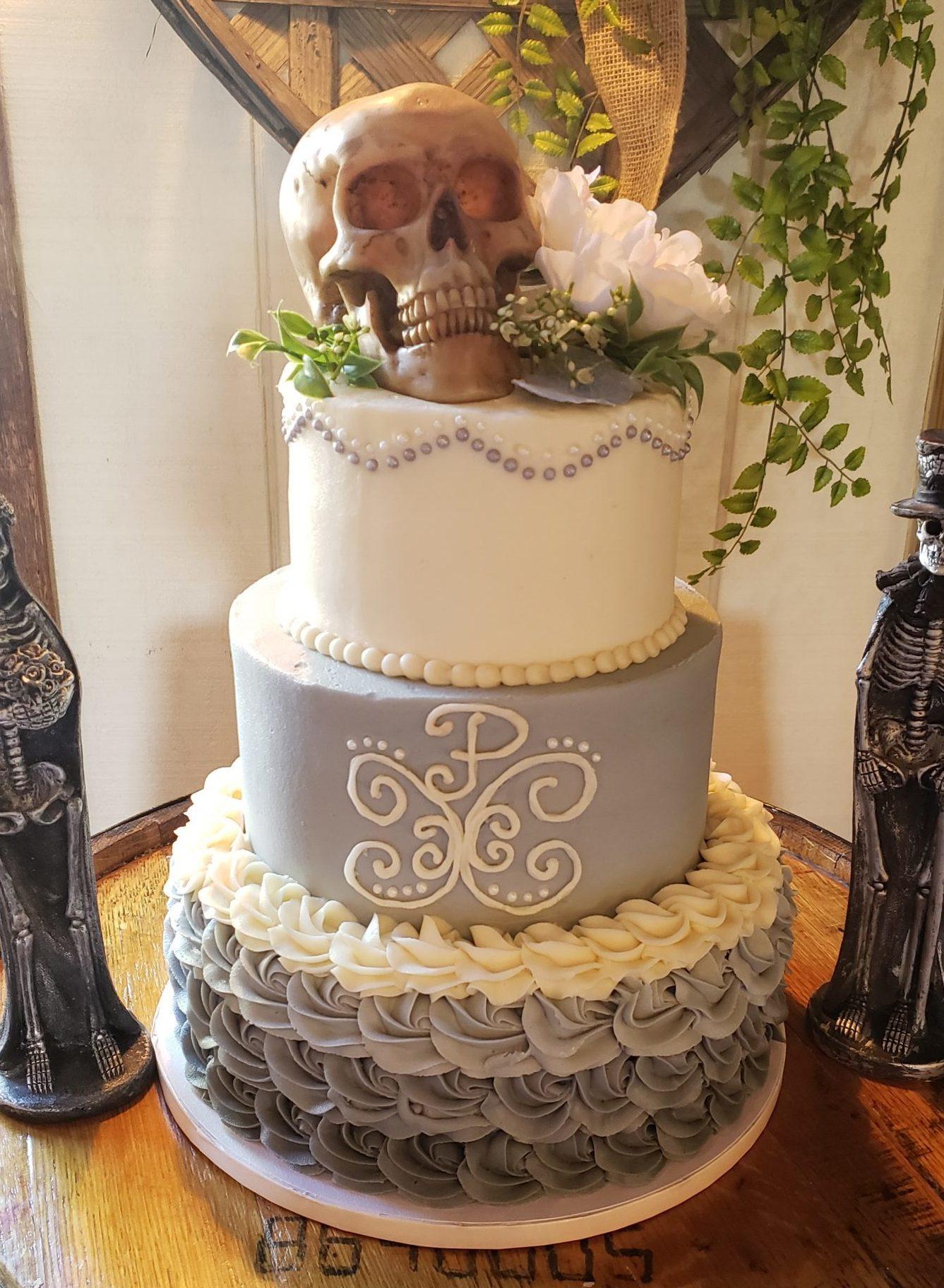 Gothic Victorian Skull Cake
