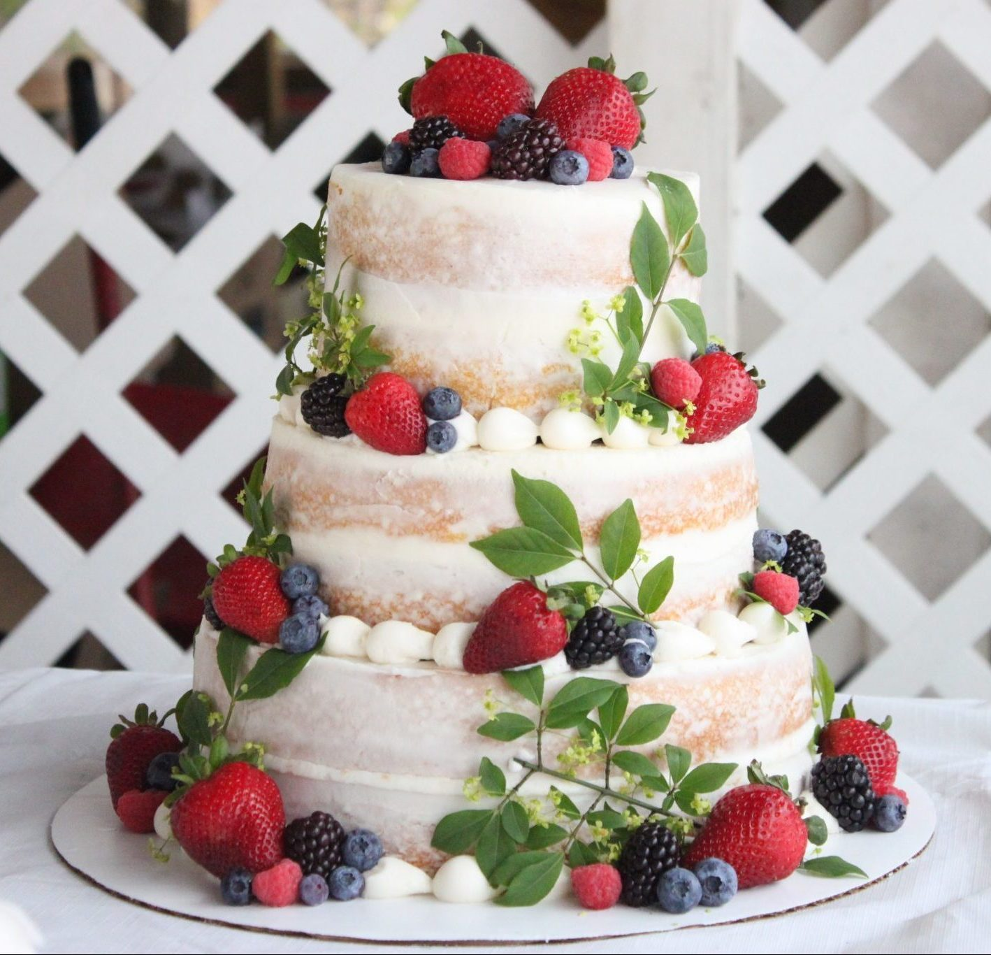 Rustic Fruit Wedding Cake