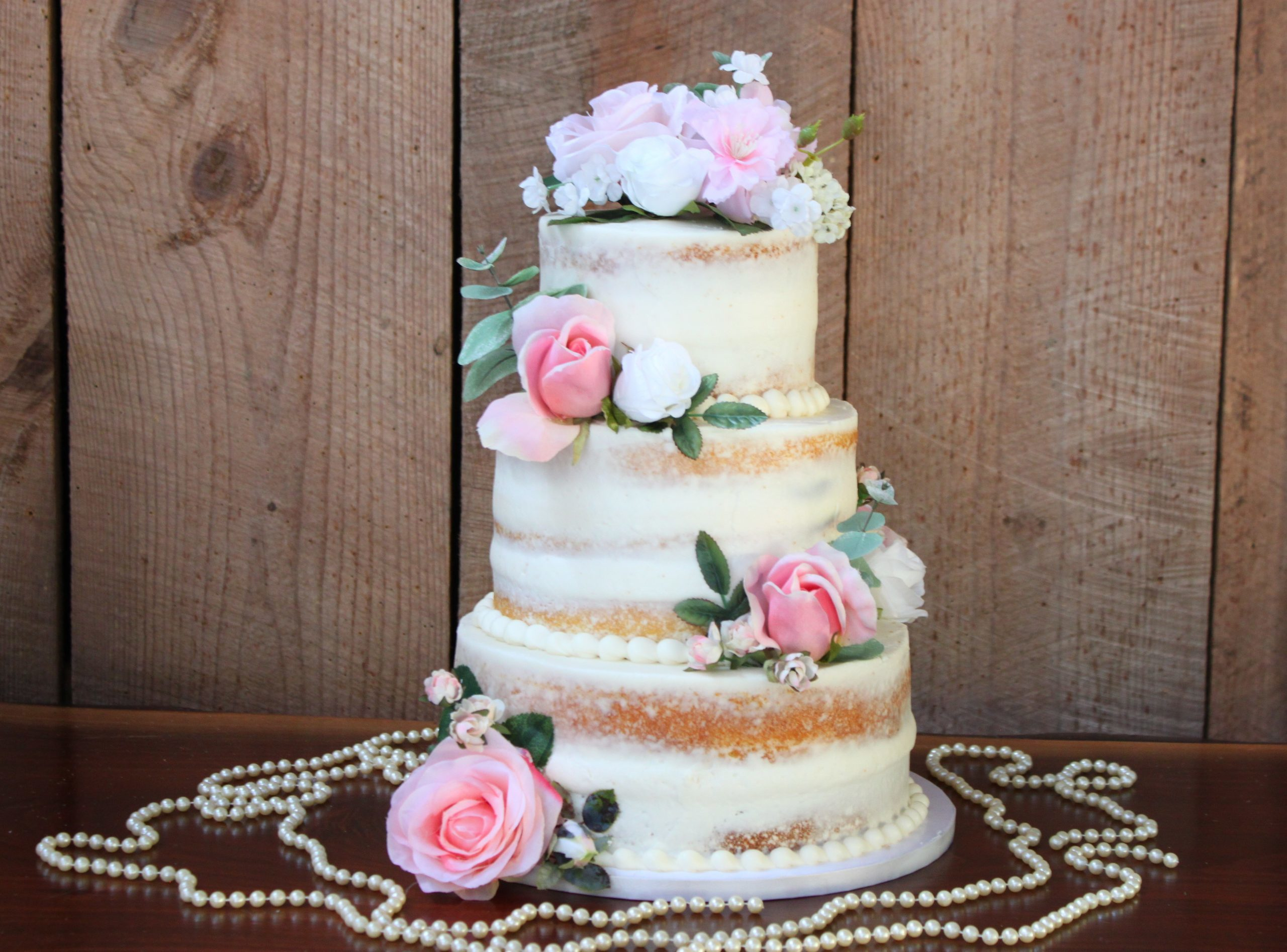 Naked Rose and Pearls Cake