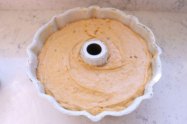 pumpkin pecan bundt cake in bundt pan