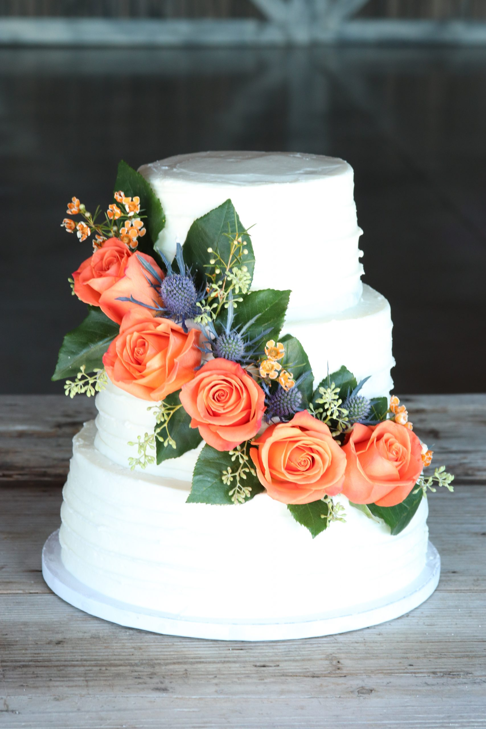 3 Tier Orange Rose Cake