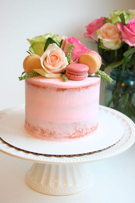 Naked Strawberry Macaron Cake