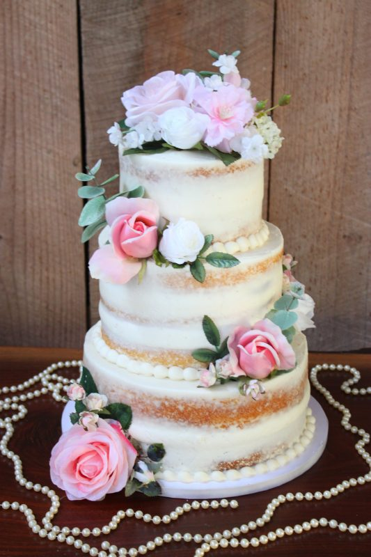 Naked Pearl and Rose Cake