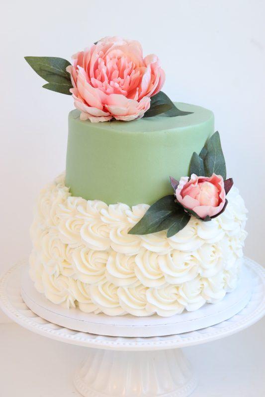 Sage Green and Peony Wedding Cake