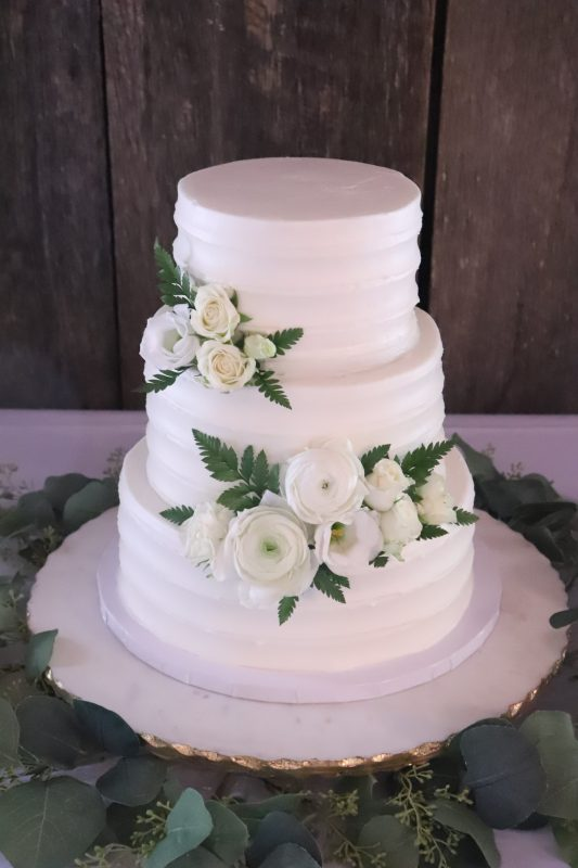 Textured and White Rose Cake
