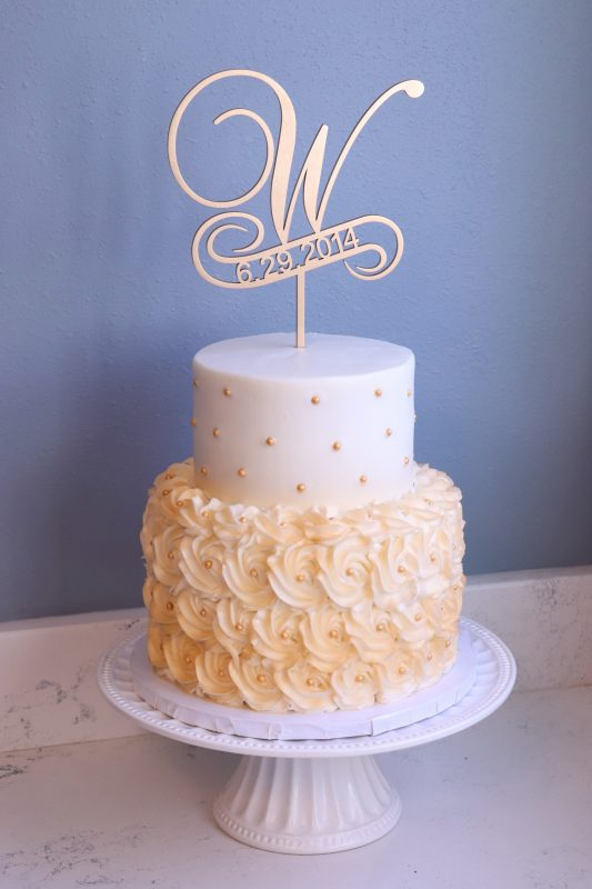 Two Tier Wedding Cake with Rosettes